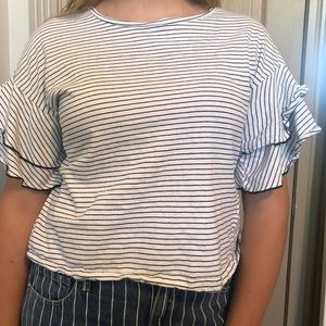 black and white striped shirt with ruffle sleeves